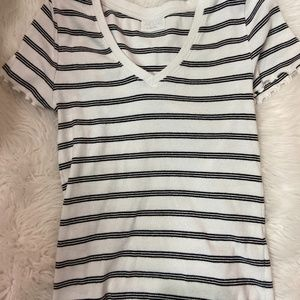 Lettuce White Striped Top